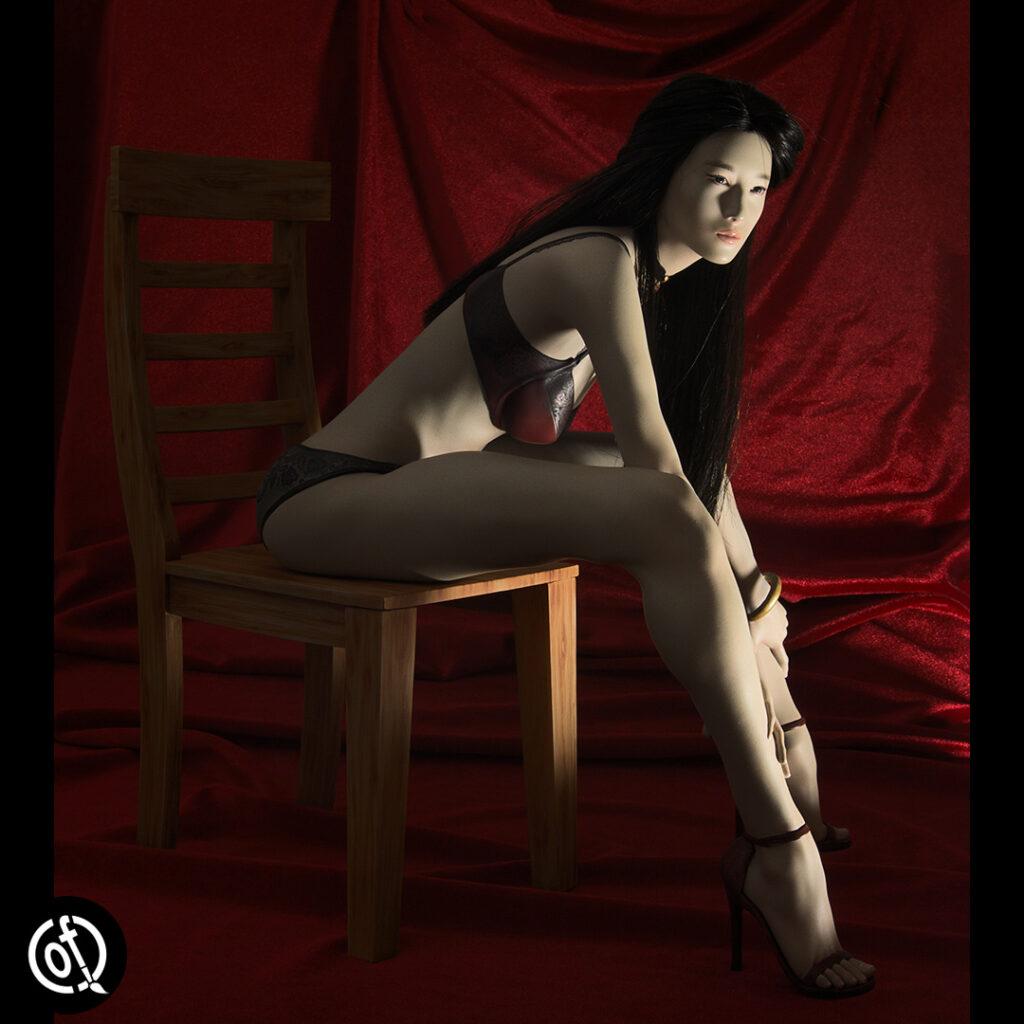 "Liu Yifei on a chair, 12"" statue"