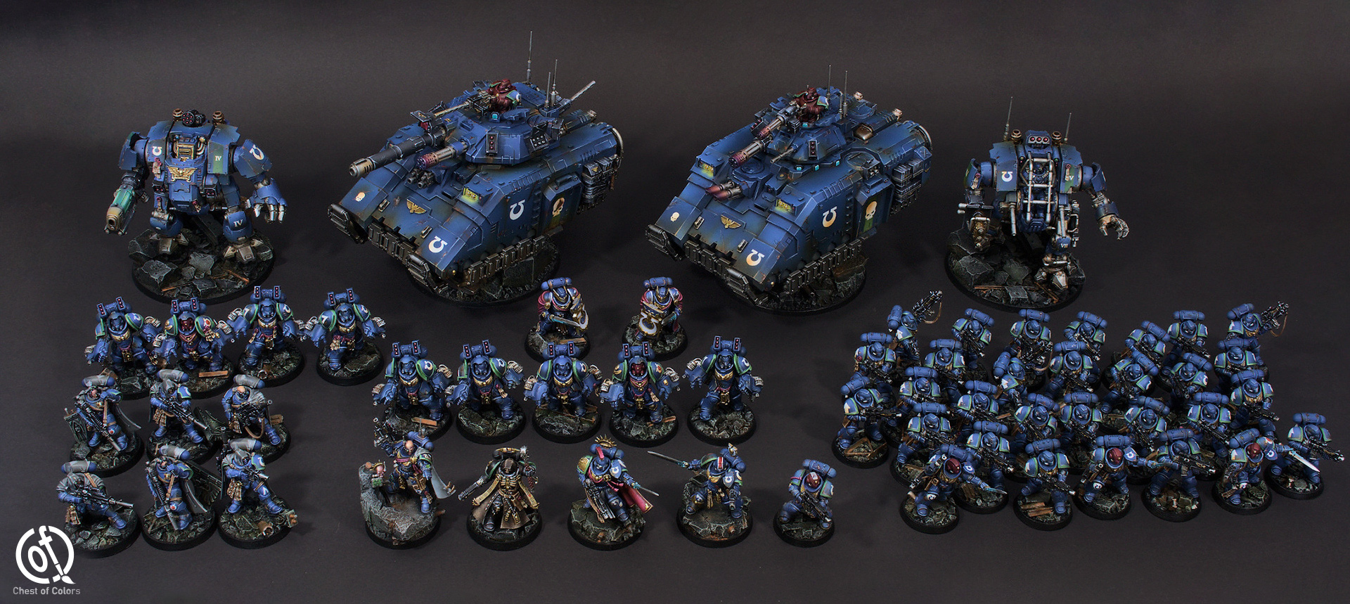 Ultramarines Space Marines army for Warhammer 40.000 – example of our miniature painting service