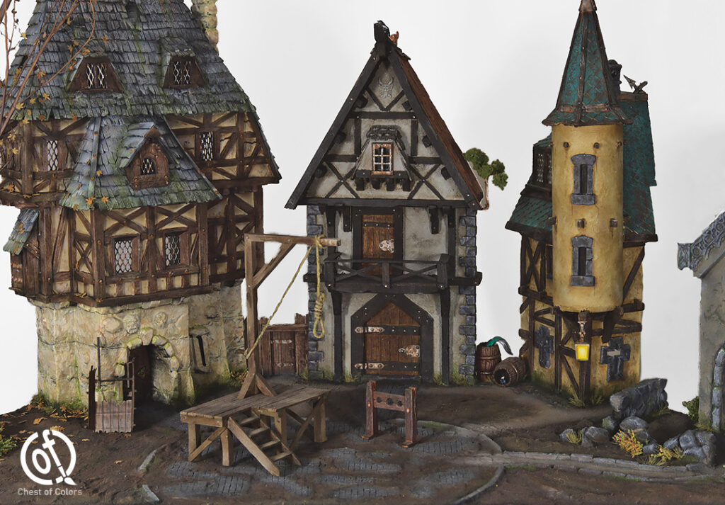 Medieval or fantasy town buildings diorama - modeling and diorama building service