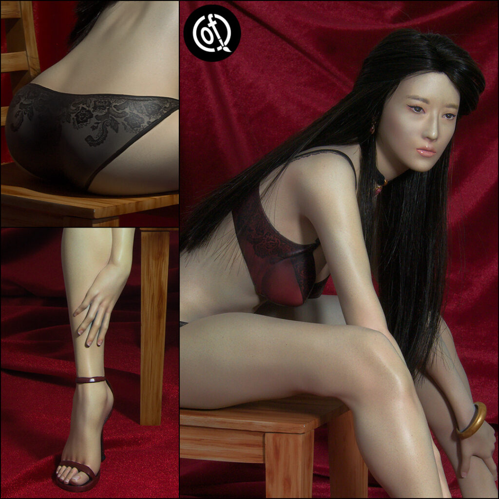 "Liu Yifei on a chair, 12"" statue - closeup of details"