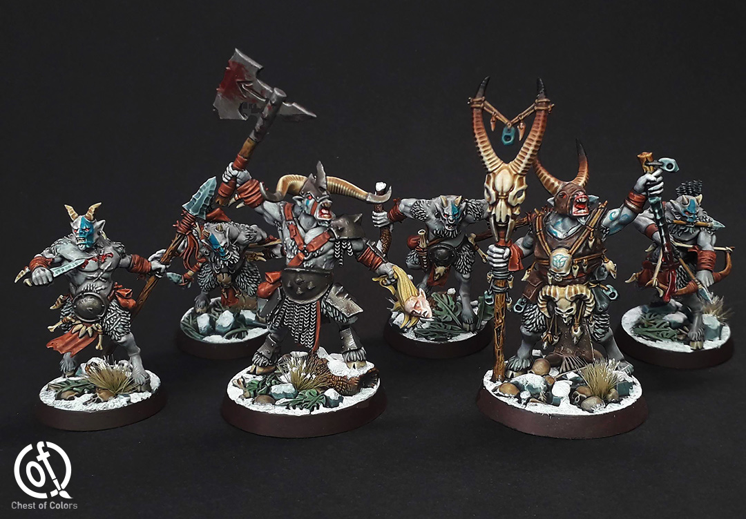 Painted beastmen warband for Beastgrave or Warhammer - example of our miniature painting service