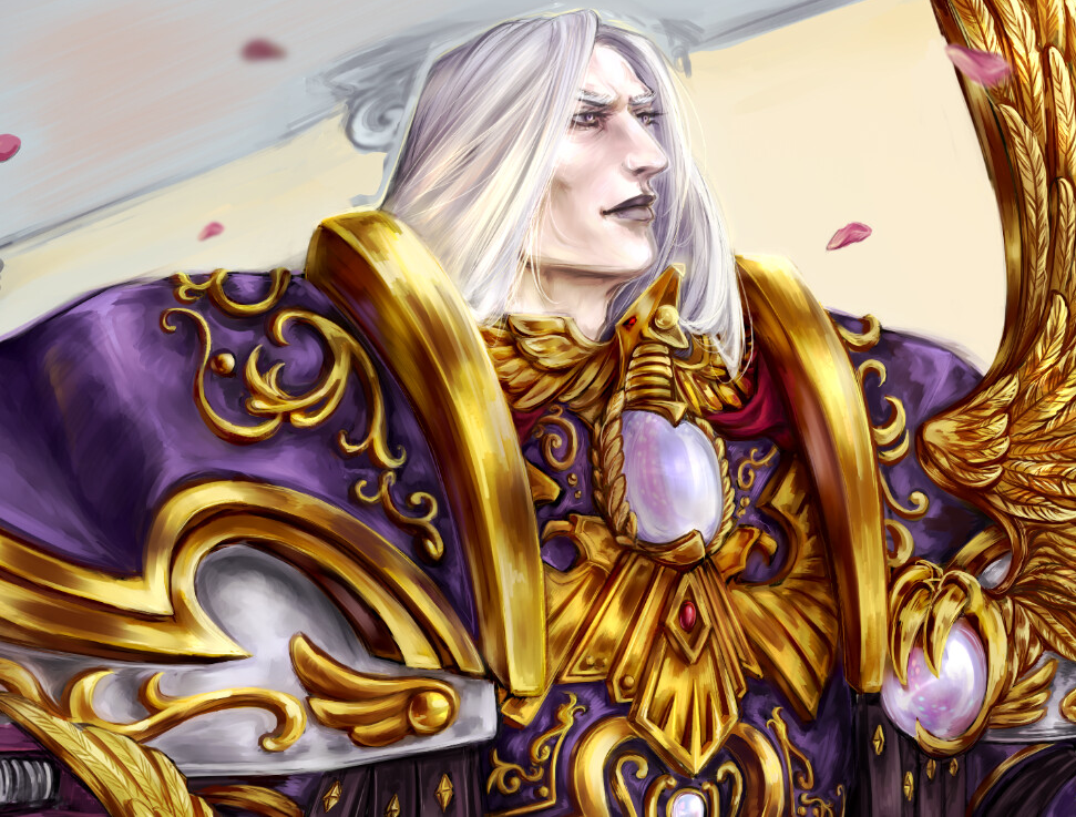 """Fulgrim's face detail from the """"Roses of Fulgrim"""" picture by Nephilim Amriagiath"""